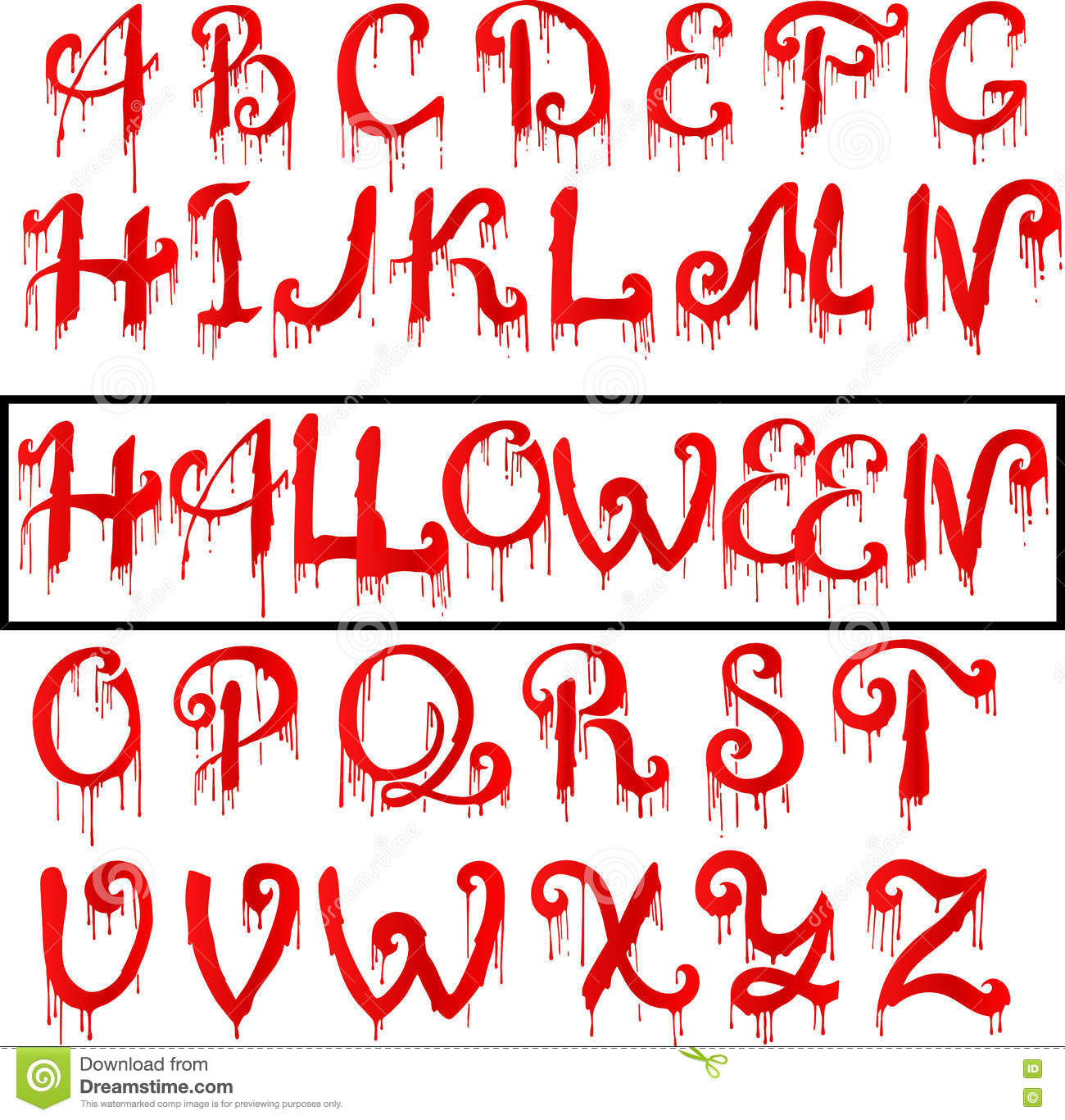 Red Blood Text. Halloween Horror Letters, Vector Illustration ...