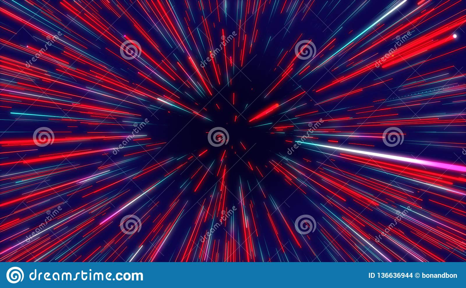 Red & blue abstract tunnel radial lines, geometric effect background.
