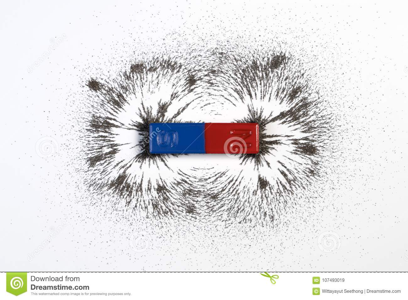 Red and blue bar magnet or physics magnetic with iron powder mag