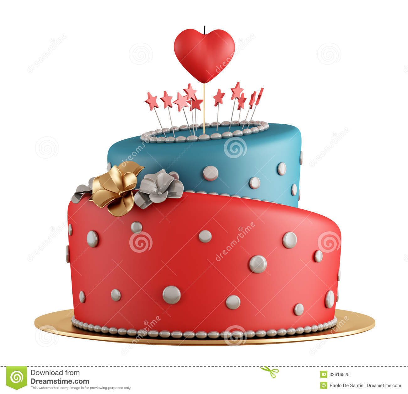 Red and blue birthday cake stock illustration. Image of ...