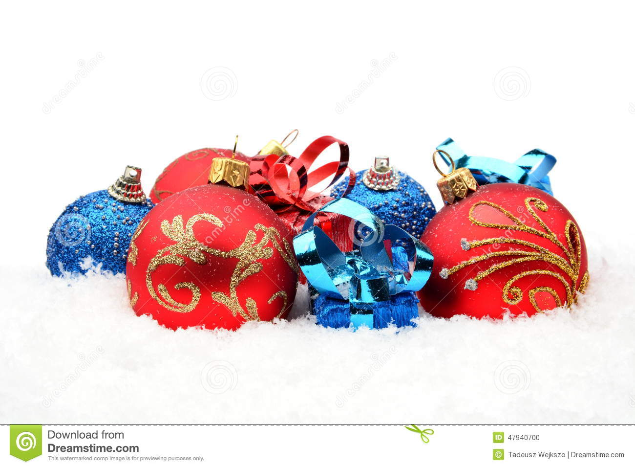 Red white and blue christmas ornaments - Red Blue Christmas Decoration On Snow In Line