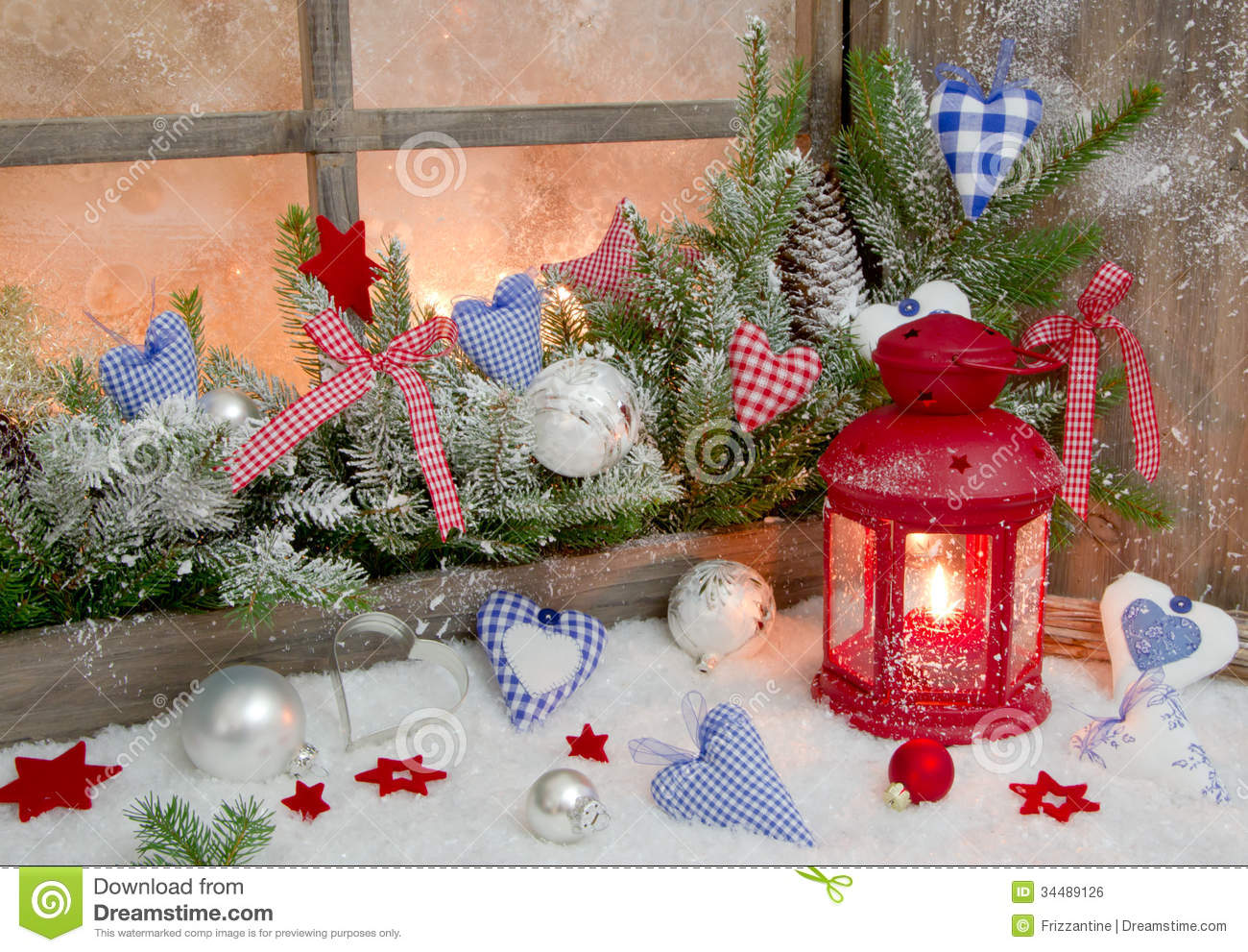 Red And Blue Christmas Decoration On Window Sill With