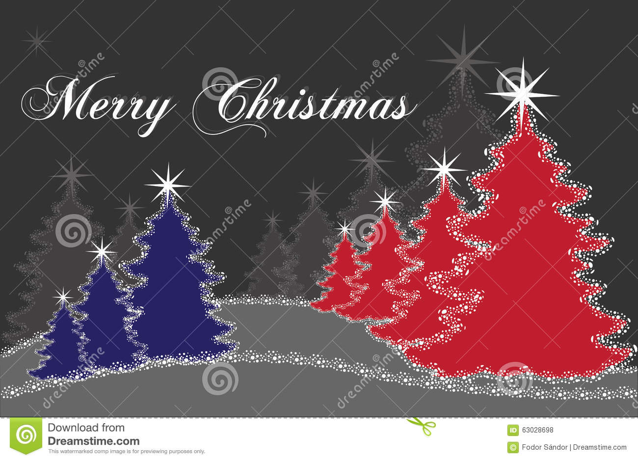 Red And Blue Christmas Trees Stock Vector Image 63028698