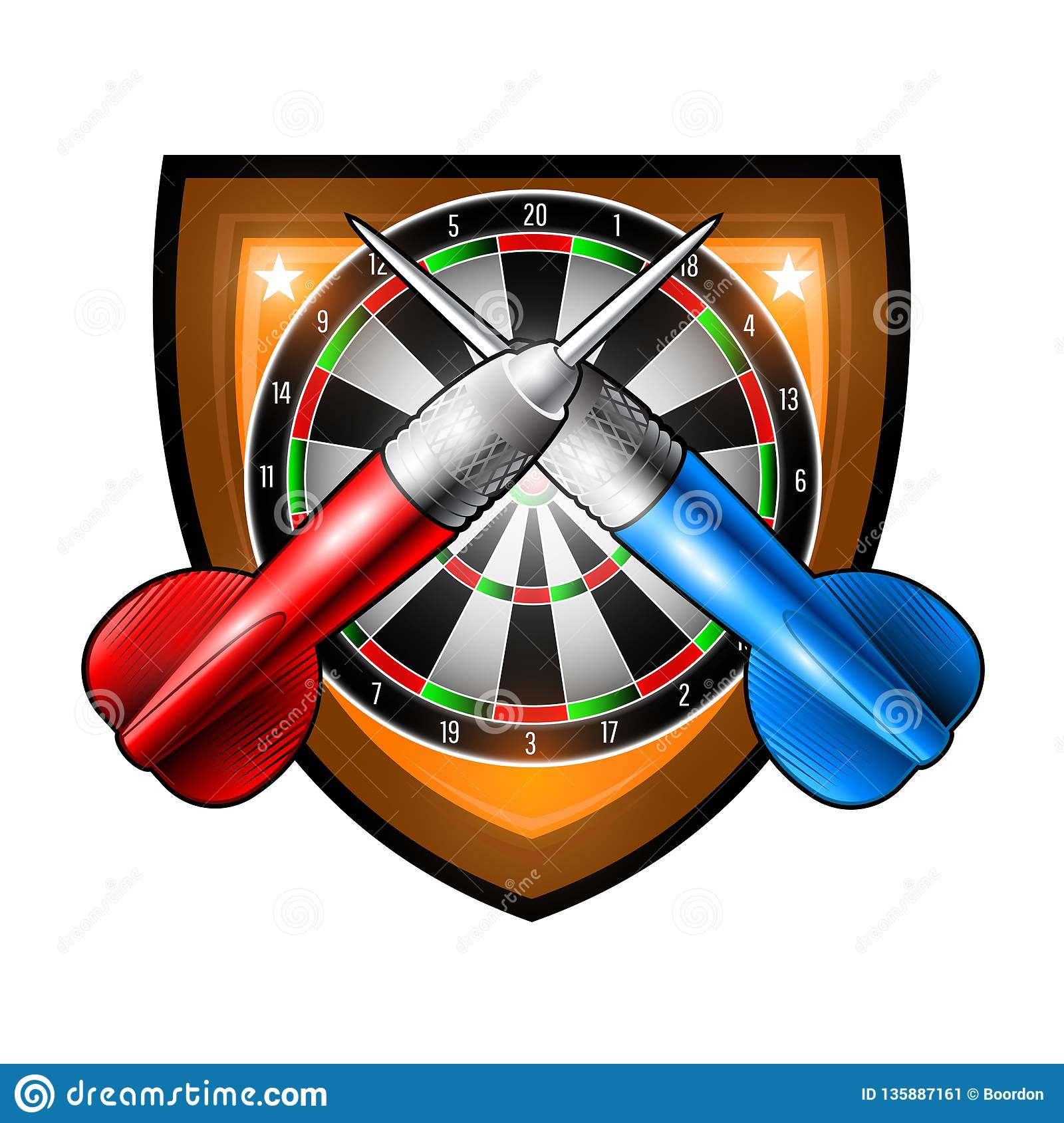 Red and blue darts crossed with round dartsboard in center of shield. Sport logo for any darts game or championship isolated on wh