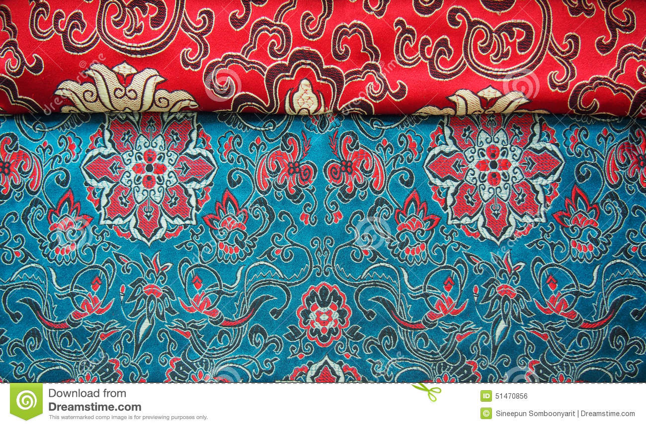 Red And Blue Fabric With Asian Pattern Stock Photo - Image: 51470856