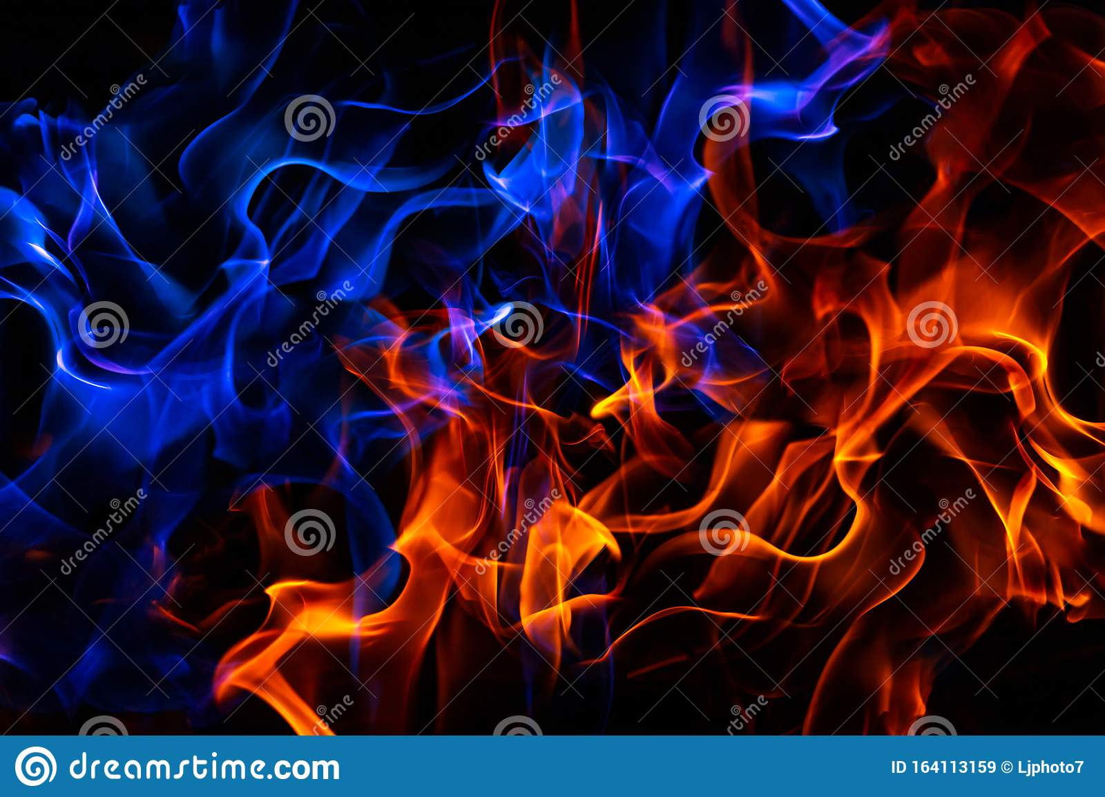 Red And Blue Fire On Balck Background Stock Image Image Of Curl Dangerous 164113159