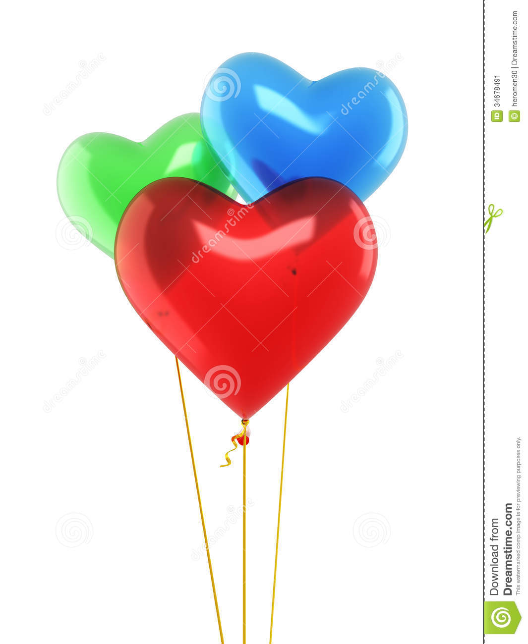 Green and blue balloons - Red Blue Green Heart Balloons Stock Image