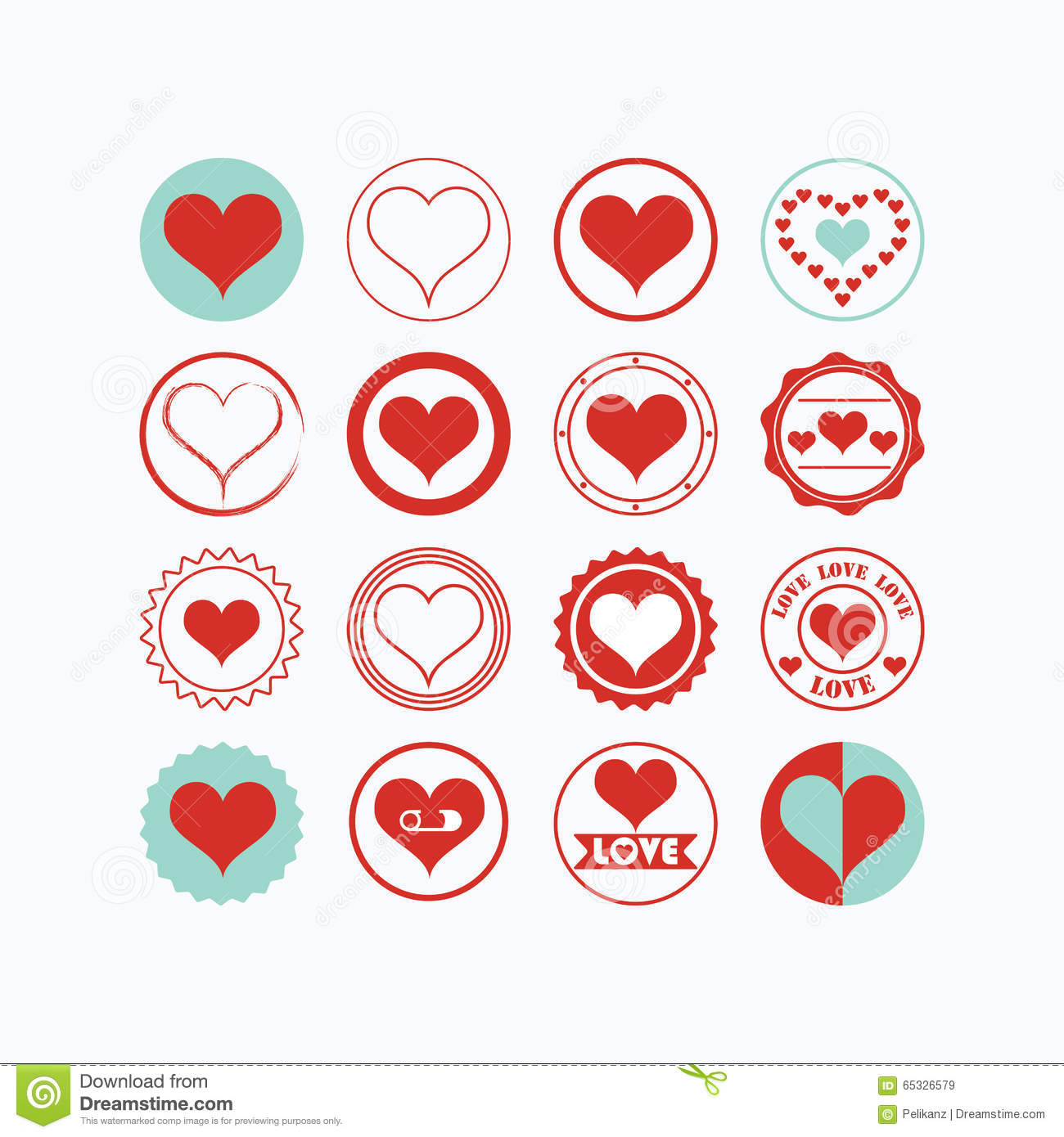 Red And Blue Heart Symbols Icons Set On White Background Stock