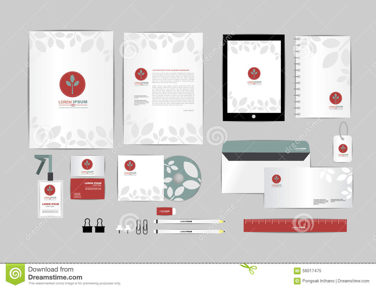 Red And Blue With Leaves Corporate Identity Template For Your ...