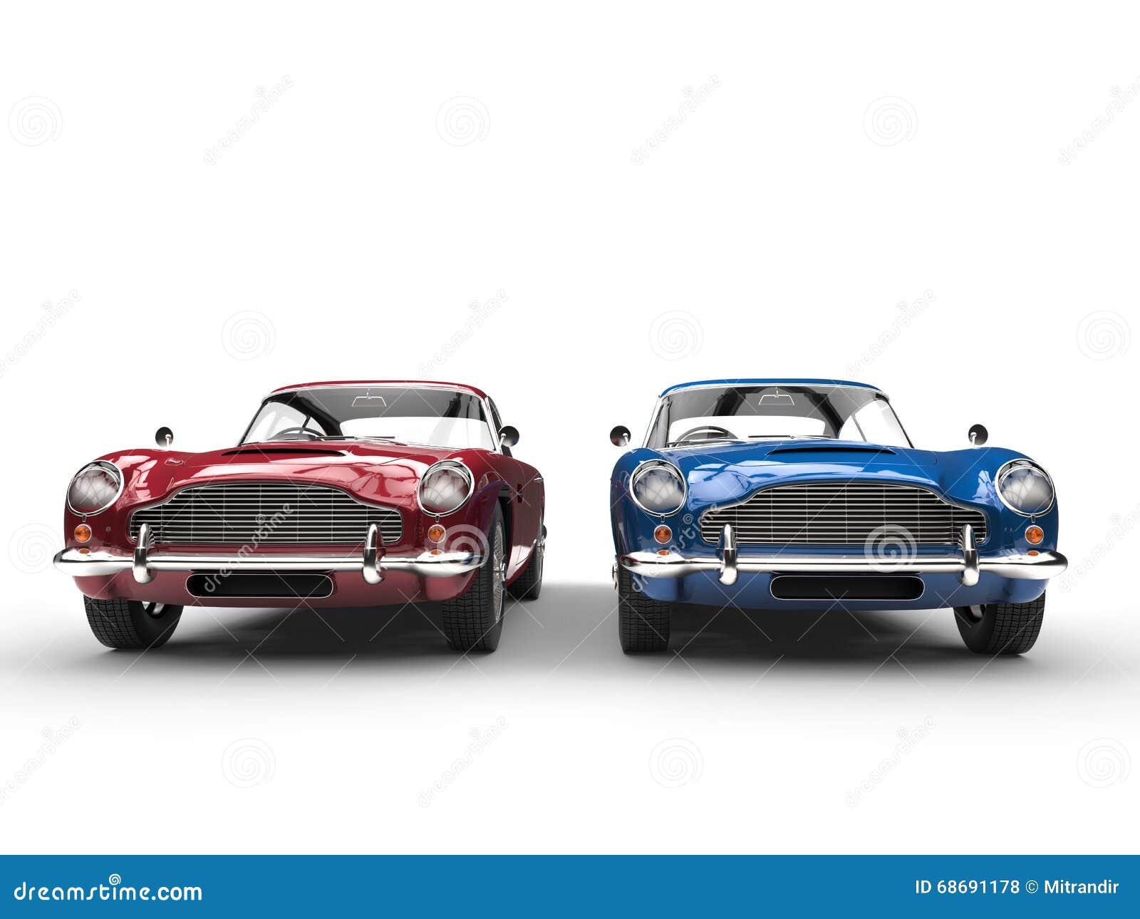 red and blue metallic vintage cars front view stock illustration image 68691178. Black Bedroom Furniture Sets. Home Design Ideas