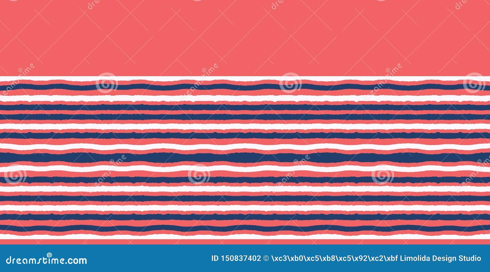 Red blue ocean regatta stripes seamless vector border pattern. Hand drawn seaside banner edging. Aqua nautical textiles, maritime