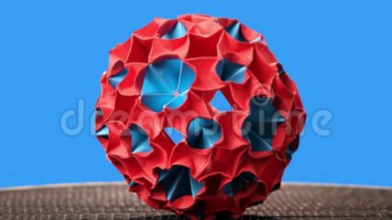 Red And Blue Origami Magic Ball Model Stock Video Video Of Design