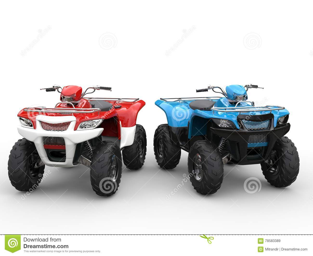 red and blue quad bikes side by side royalty free stock ATV Silhouette Cartoon ATV Clip Art