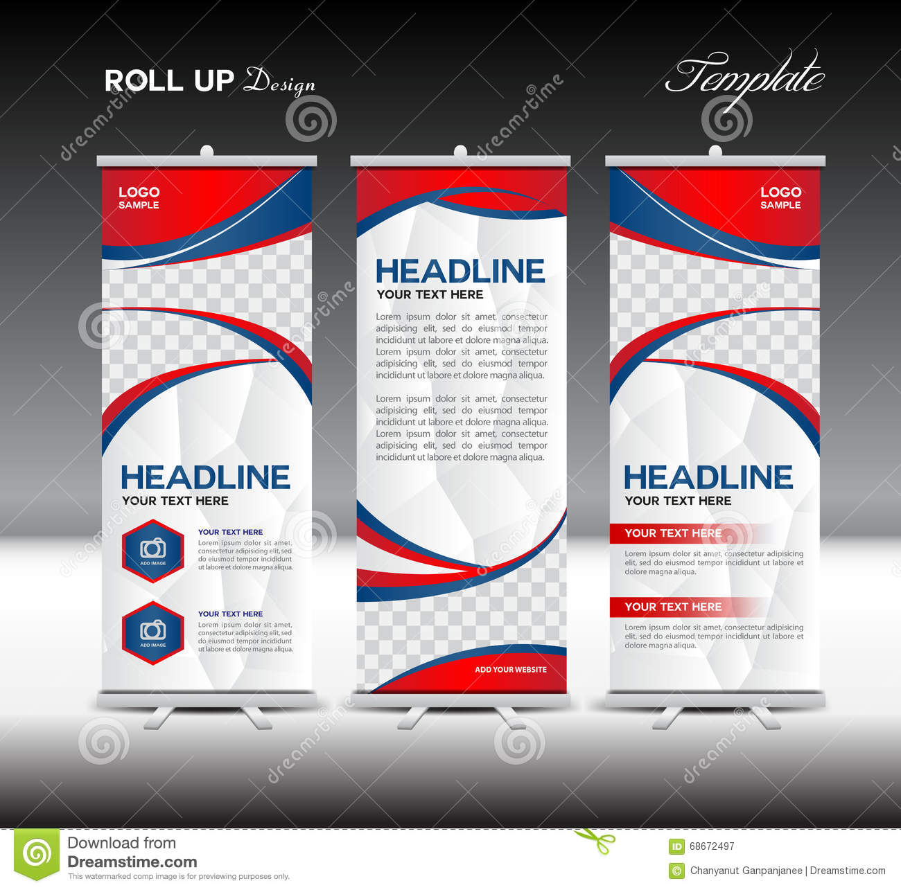 Exhibition Stand Design Template : Red and blue roll up banner template vector illustration