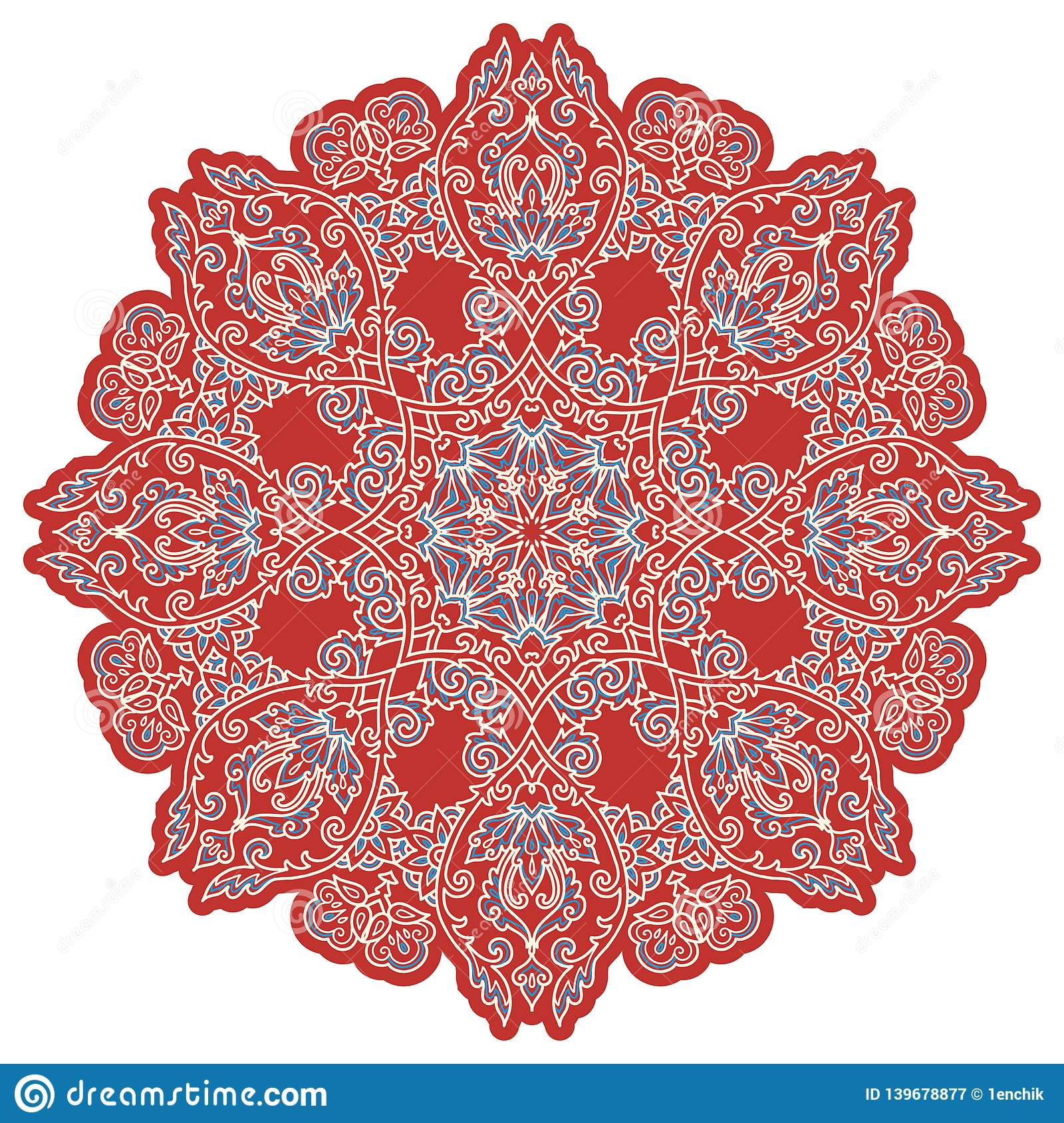 Red And Blue Turkish Style Vintage Vector Mandala Isolated White