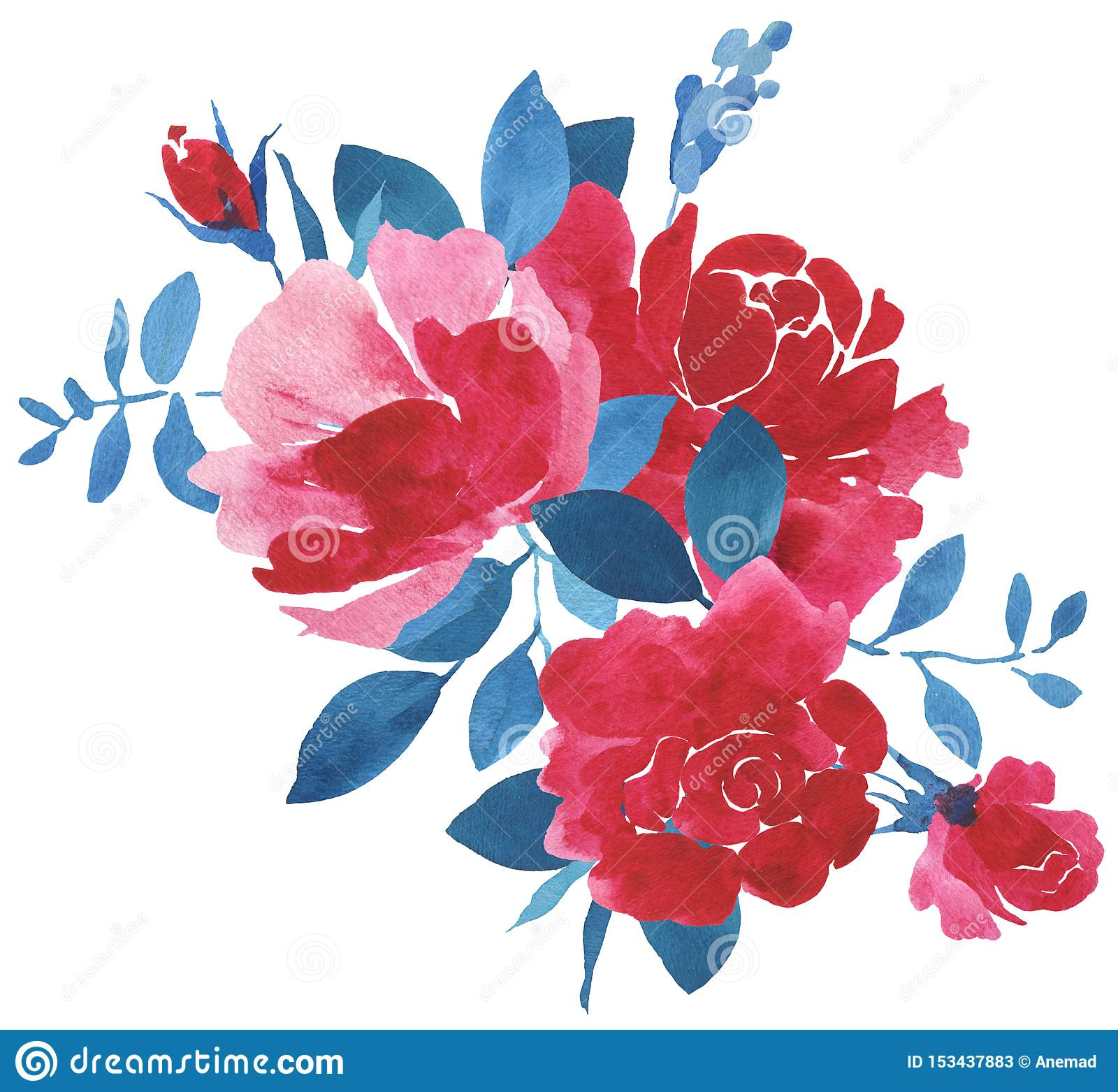 Red And Blue Watercolor Flower Bouquet Stock Illustration Illustration Of Roses Petal 153437883