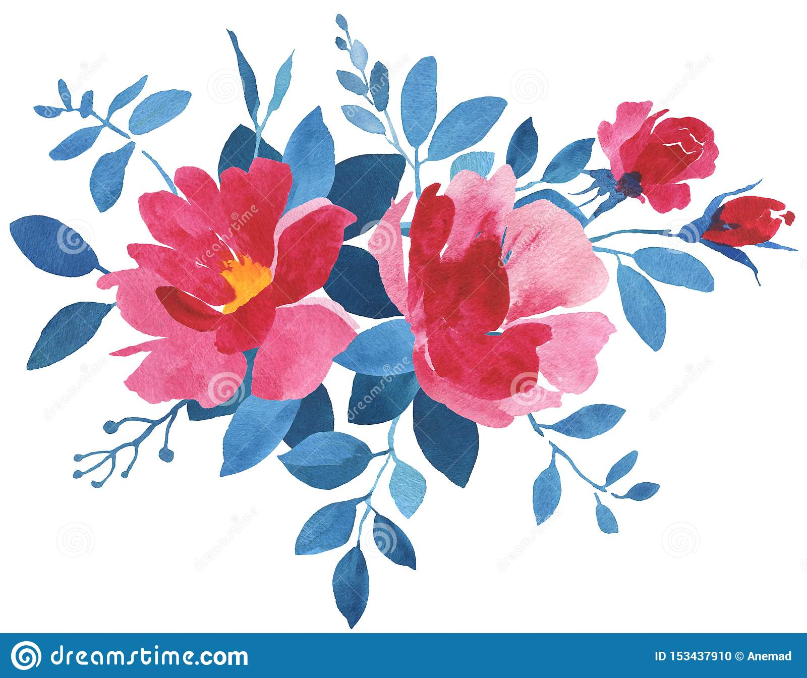 Red And Blue Watercolor Flower Bouquet Stock Illustration Illustration Of Fashion Isolated 153437910