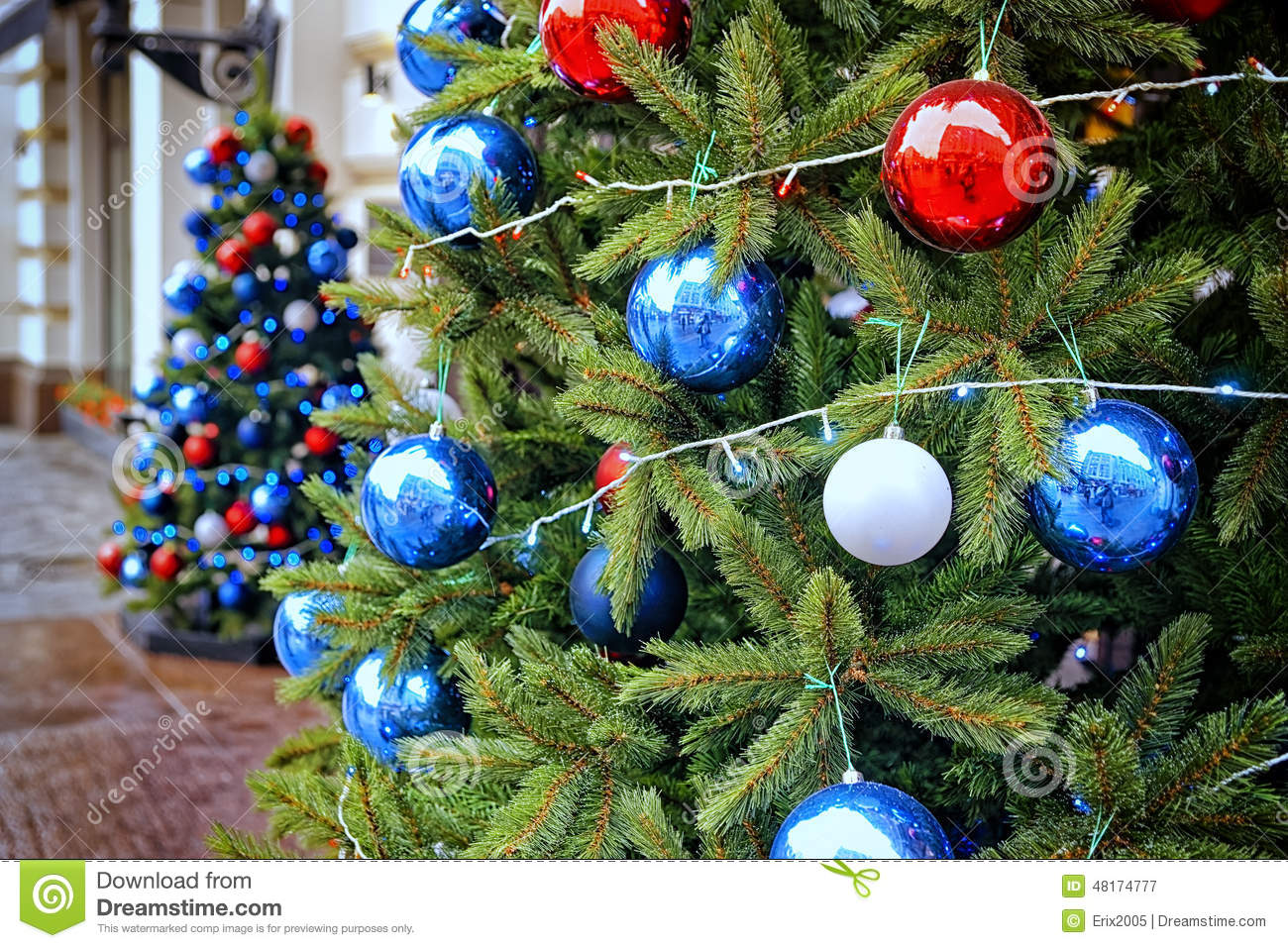 Red white and blue christmas ornaments - Red Blue And White Decorating Balls On The Christmas Trees