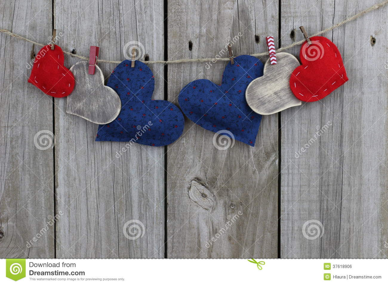 Red Blue And Wood Country Hearts Hanging On Clothesline