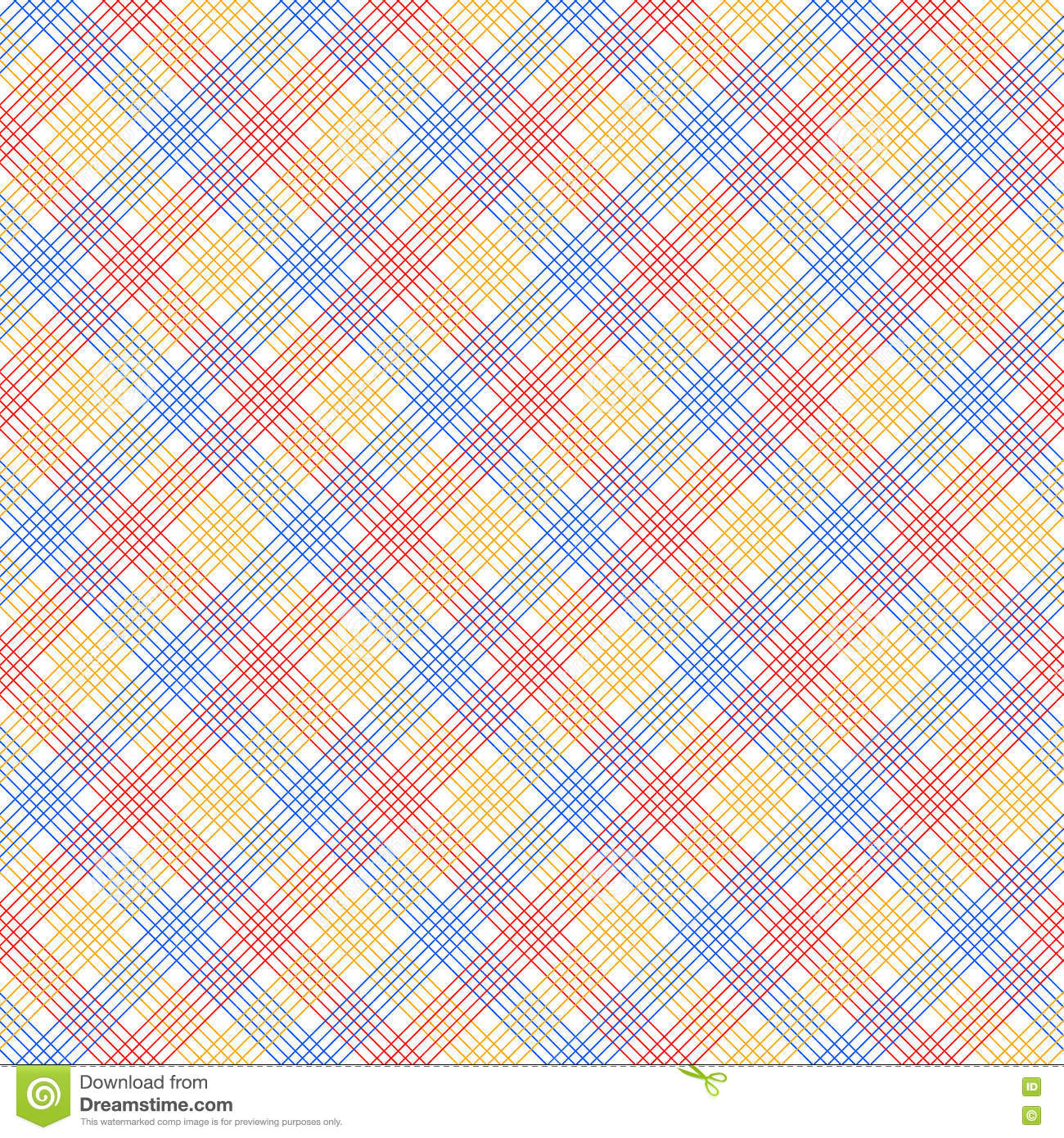Red blue and yellow checkered colorful seamless pattern, vector