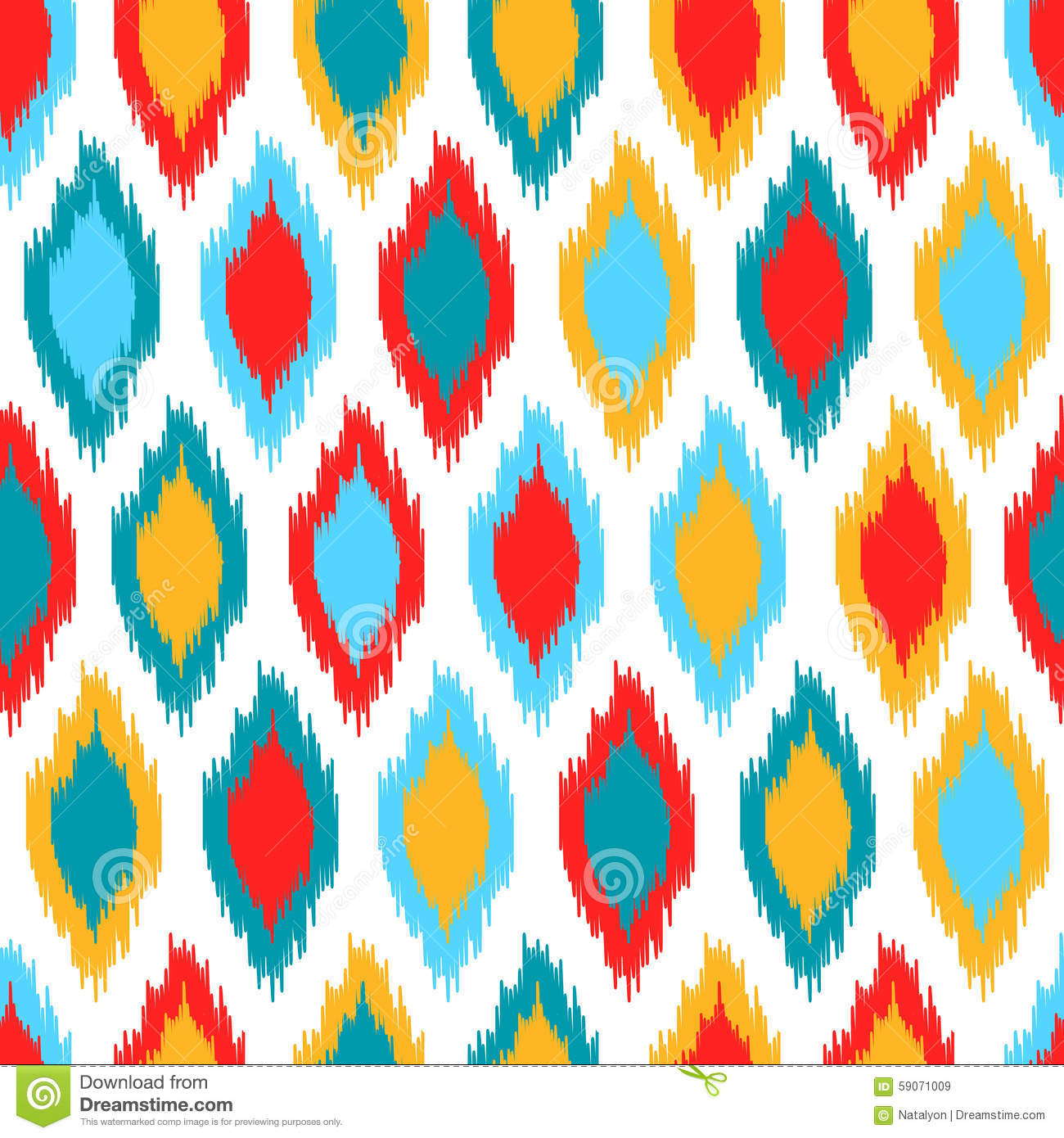 Red Blue Yellow And White Colorful Ikat Asian Traditional
