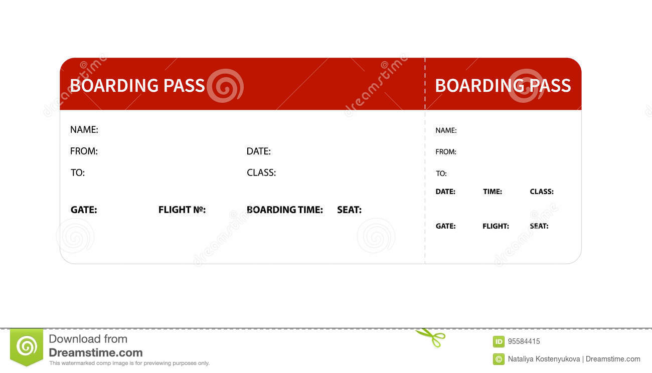 Red Boarding Pass Stock Vector Illustration Of Holiday 95584415