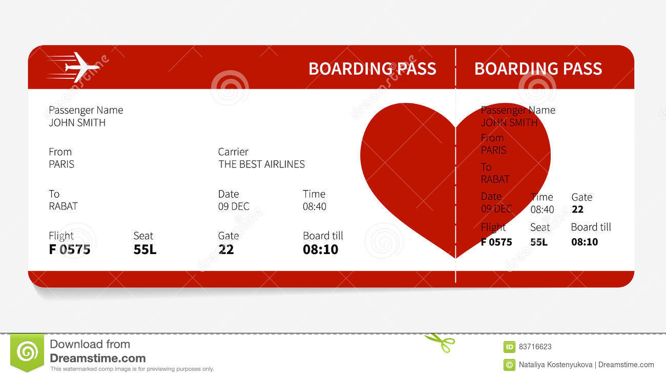 Red boarding pass stock vector. Image of heart, card ...