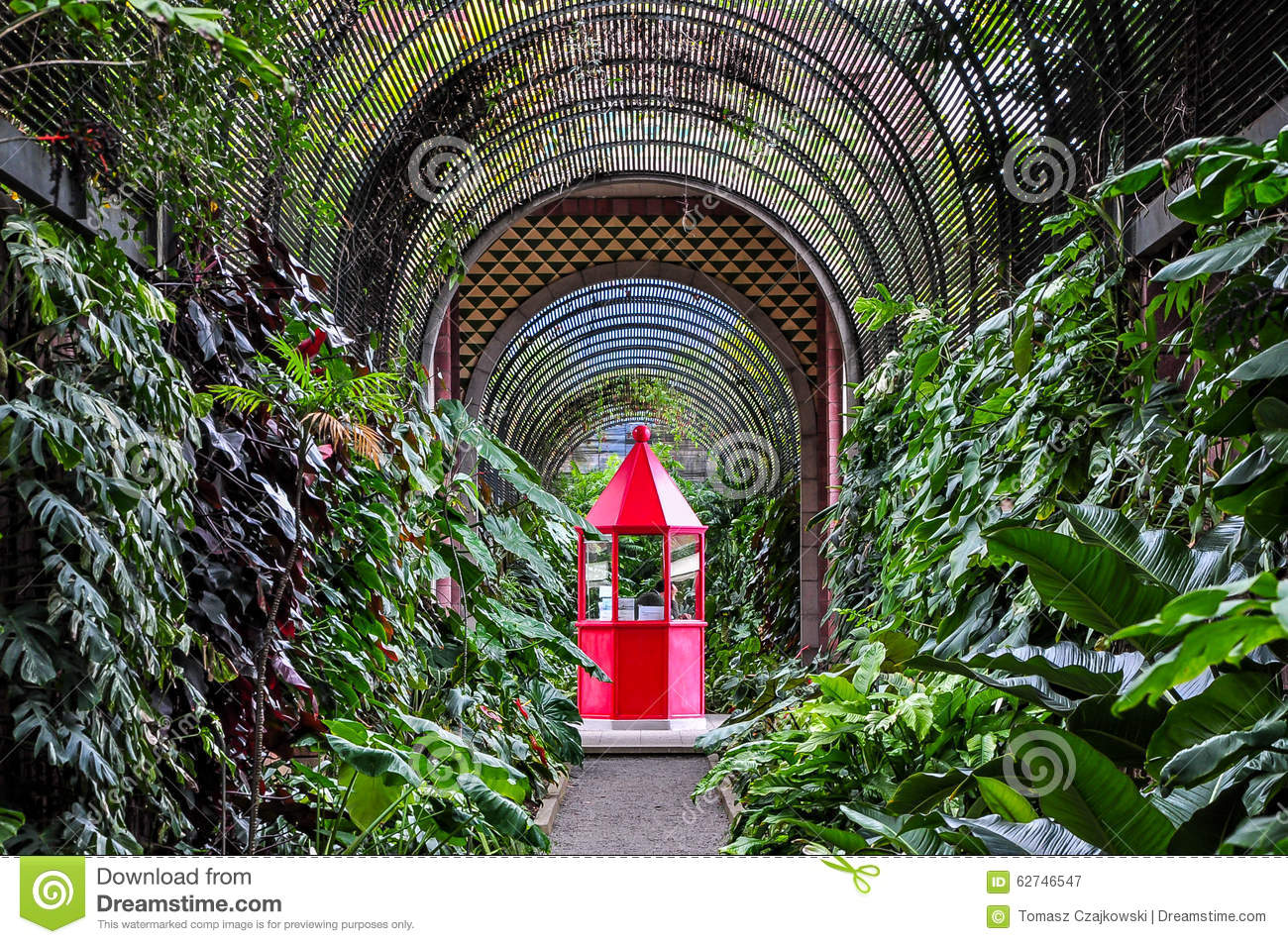 Red booth in botanical garden in puerto de la cruz stock image image of outstand touristic - Botanical garden puerto de la cruz ...