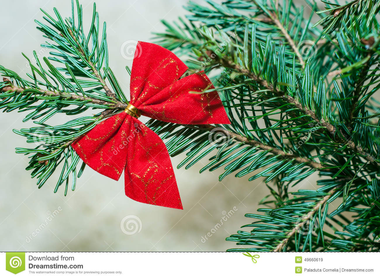 Christmas Tree Bows Red.Red Bow On Christmas Tree Stock Image Image Of Decorated