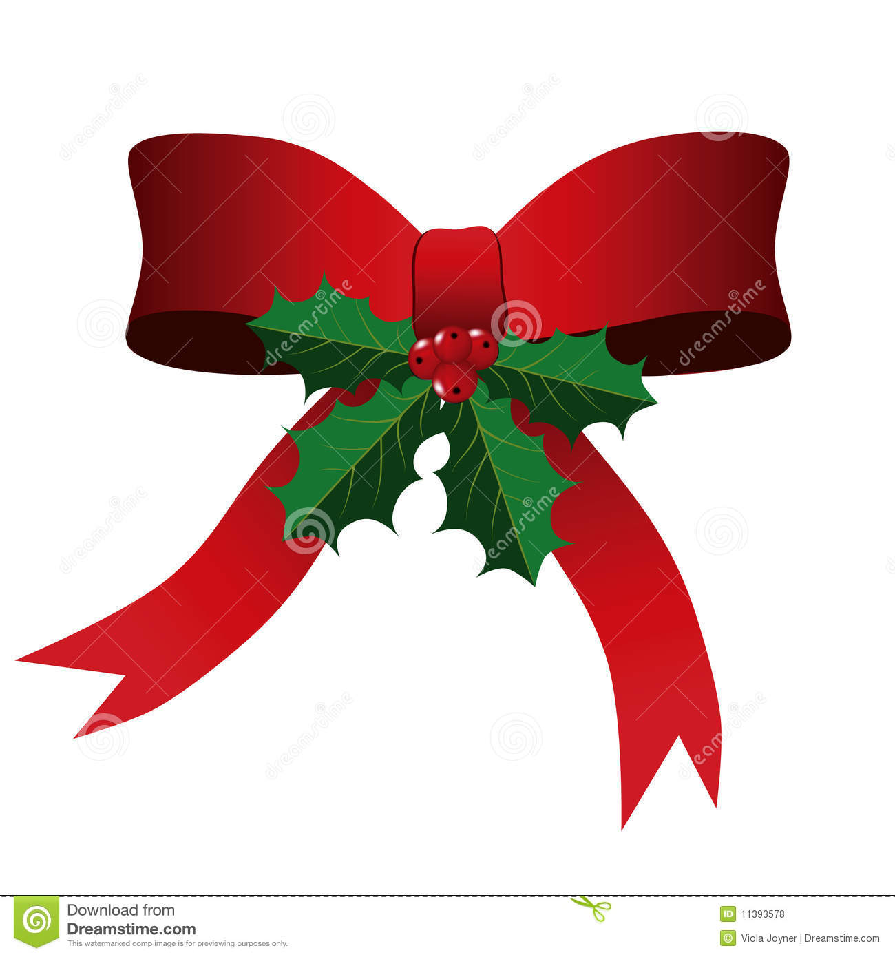 Holly Leaves And Berries Clip Art Red bow with holly leaves