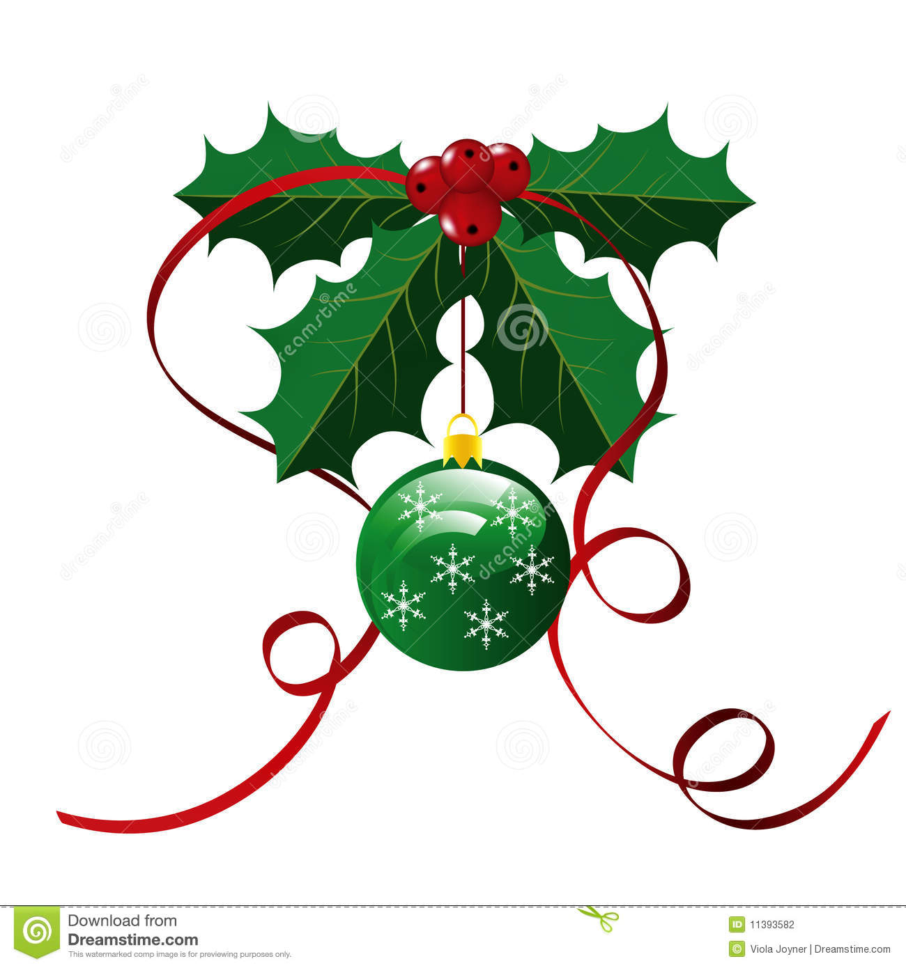 Holly Leaves with red berries, ribbons and green ornament against a ...