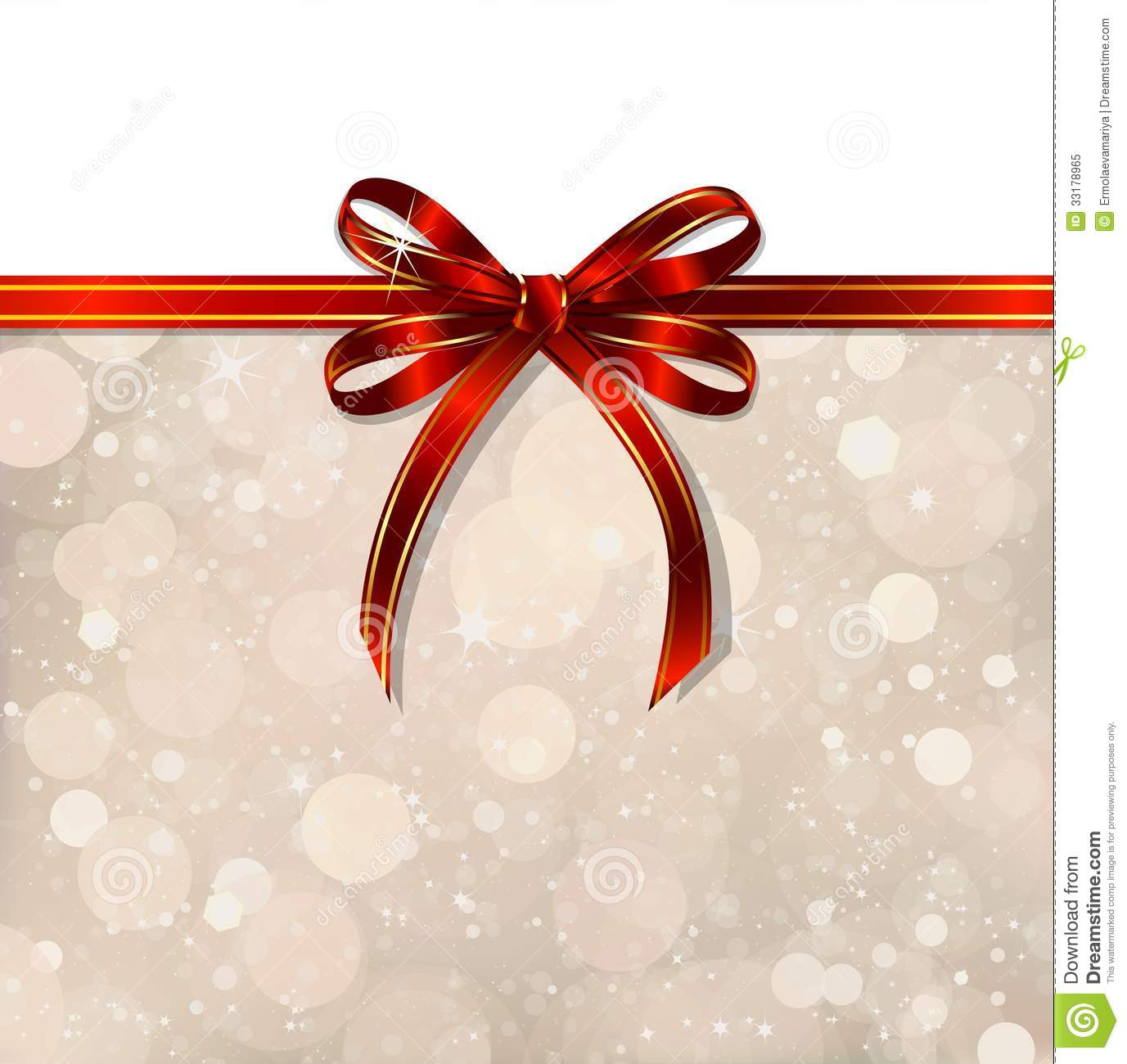 Red Bow On A Magical Christmas Background. Vector Royalty