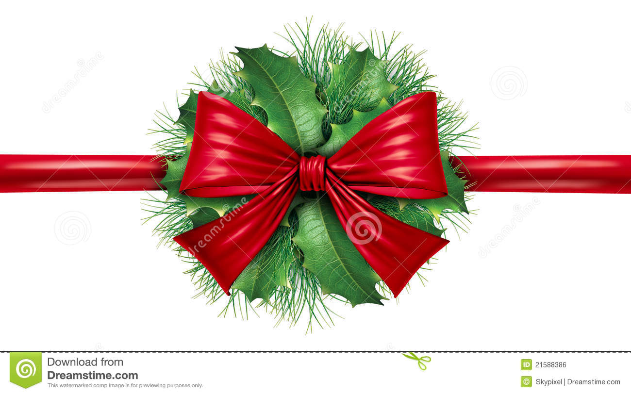 Red bow with pine border and circular decoration stock