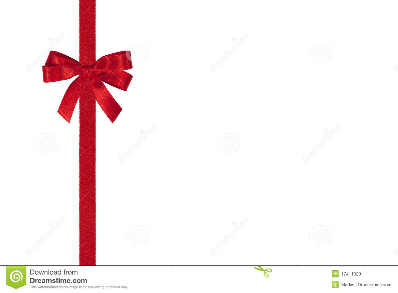 red bow and ribbon stock photo image of vertcal greeting
