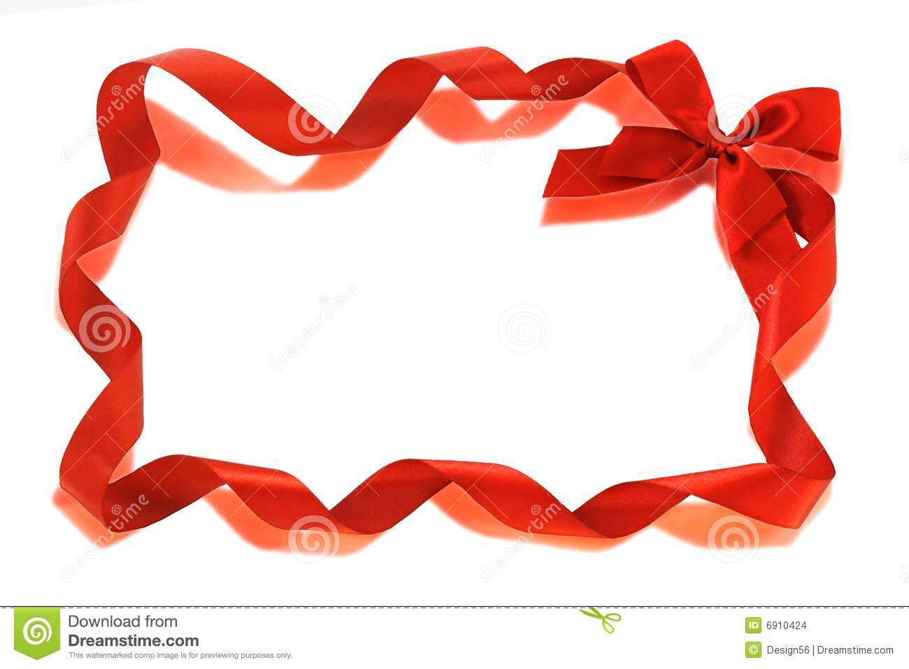 Red Bow ribbons border isolated on white with copy space.