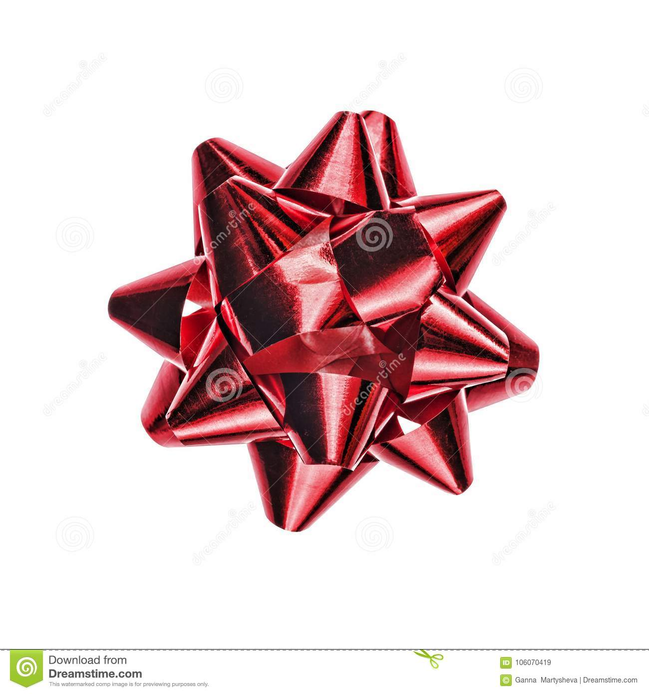 Red Bow On White Background A Holiday Symbol An Element Of Decor