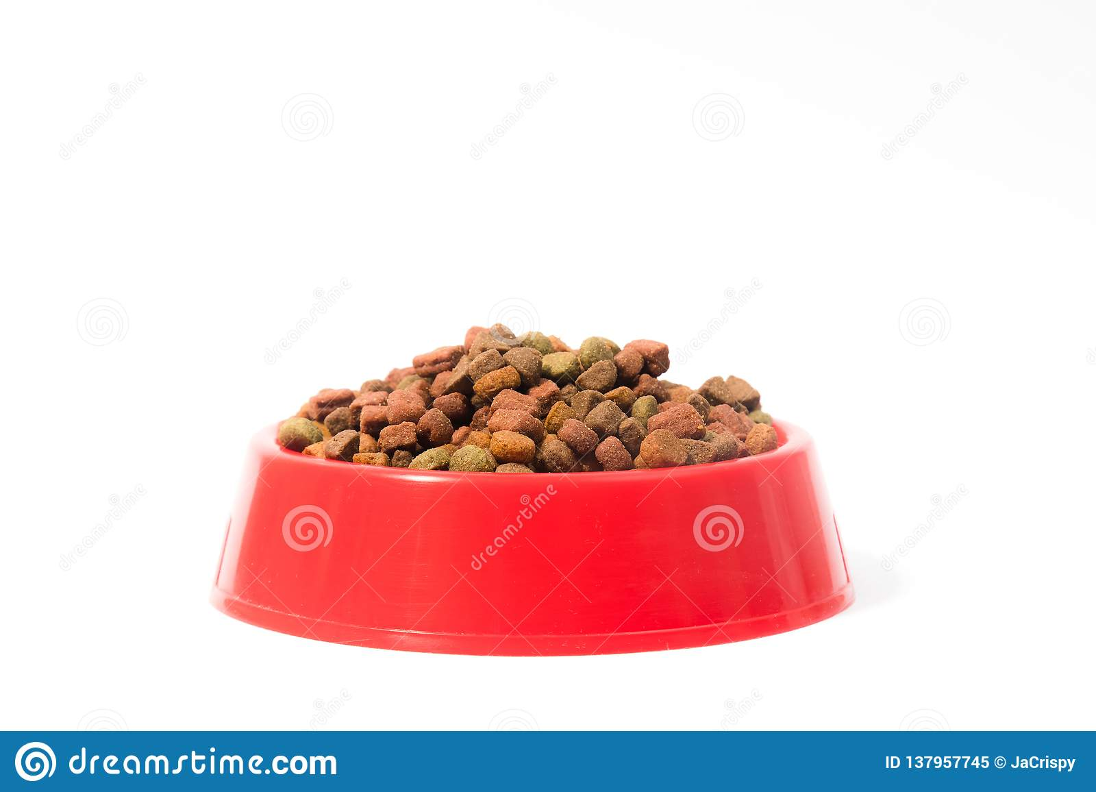 Red bowl with dry animal food for cats or dogs on white background with space for text