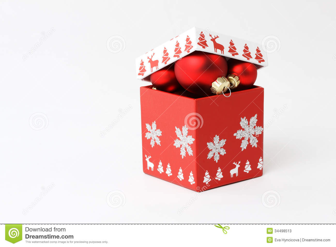 red box with christmas balls