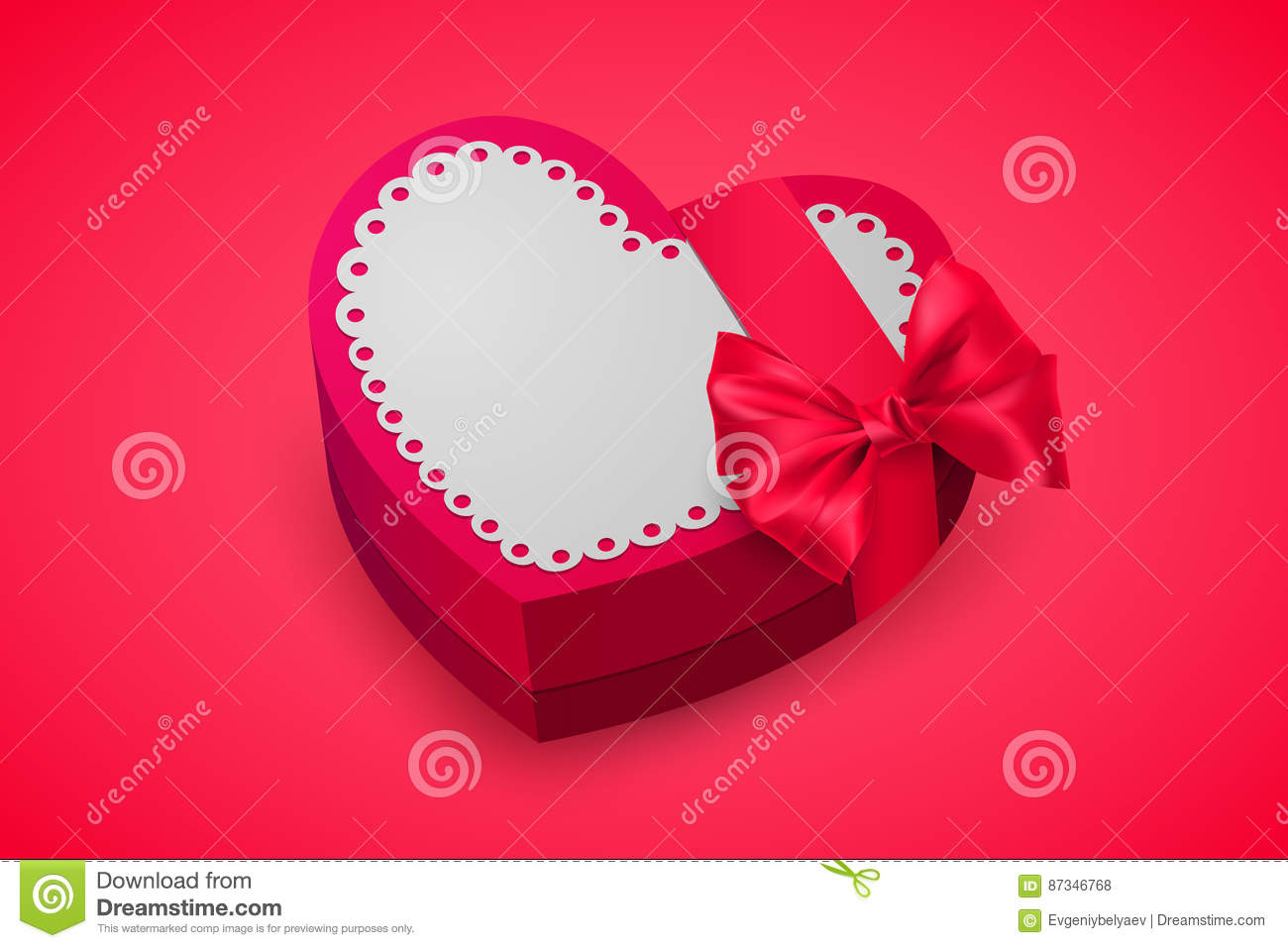 Red box in heart shape. Chocolate for Valentine`s Day. Birthday gift with love. Pink gift box for lovers. Vector