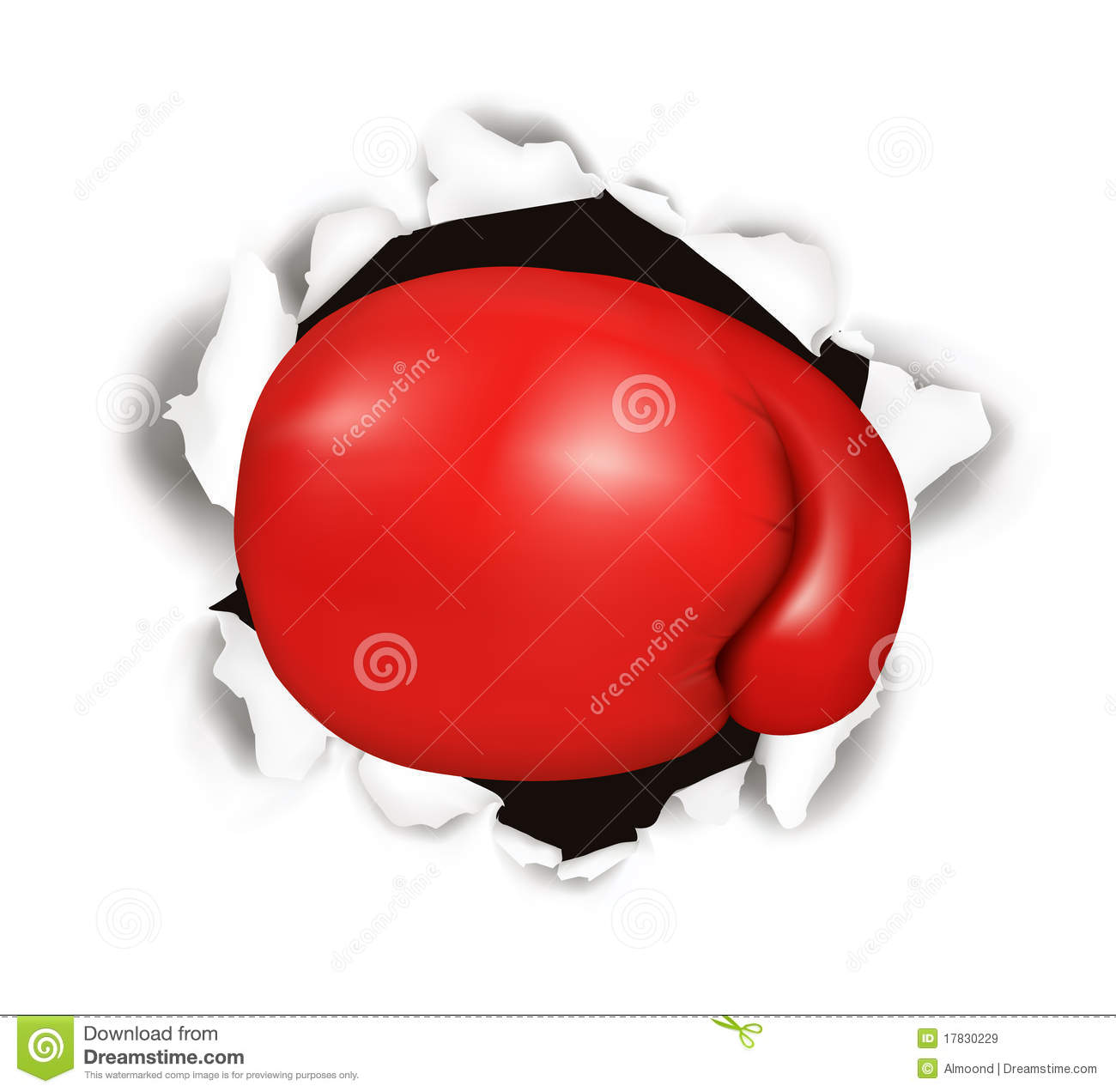 Red boxing glove. Conceptual .