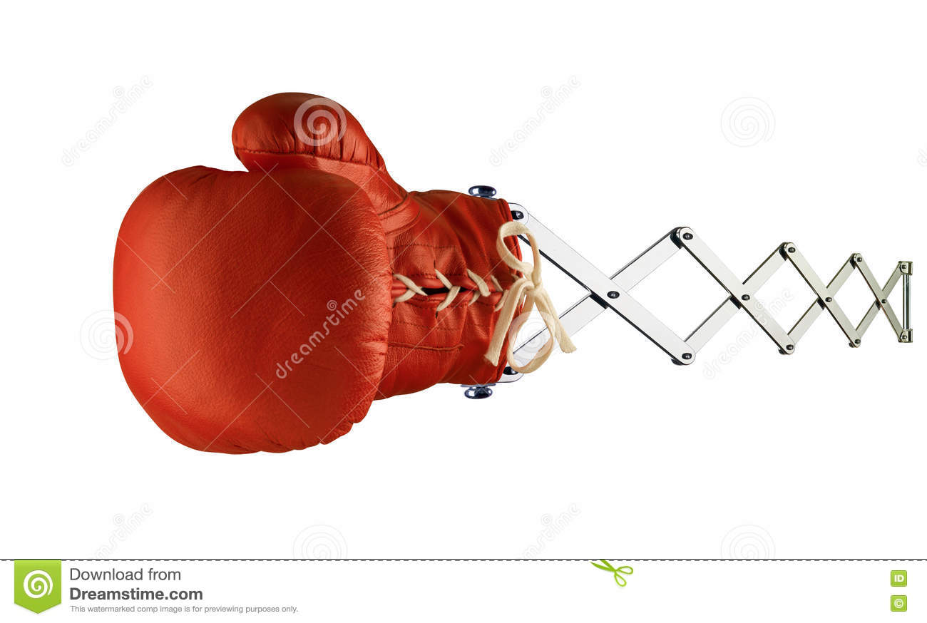 Red boxing glove on spring stock image  Image of scissors