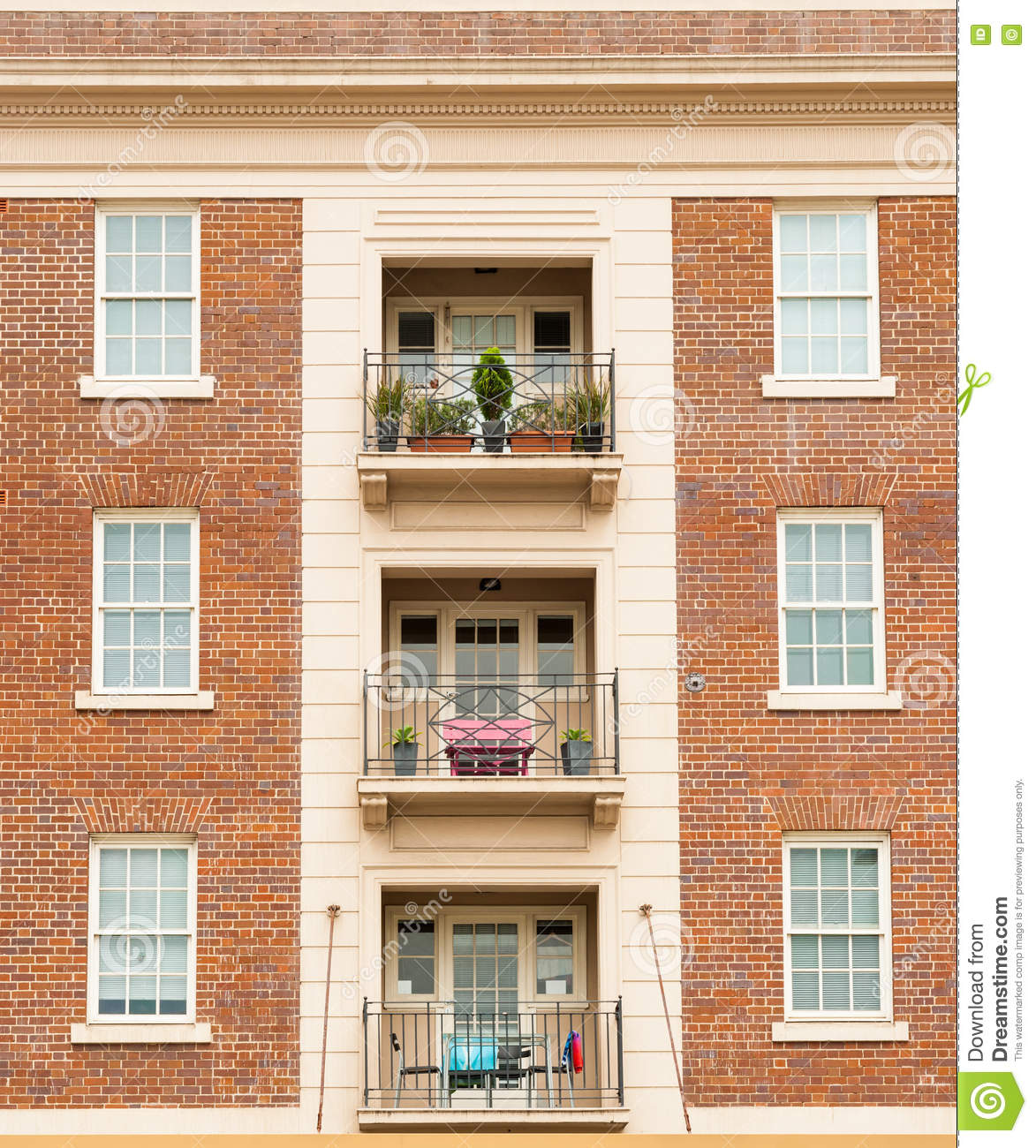 Red Brick Apartment Symmetry. Stock Photo - Image: 73821545