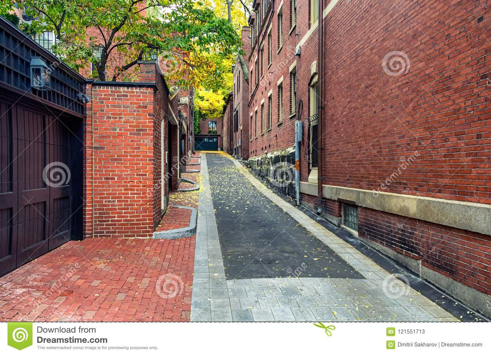 Red brick buildings in Boston`s Beacon hill district in fall season