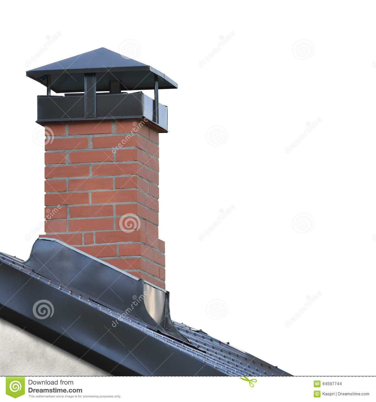 Red Brick Chimney Grey Steel Tile Roof Texture Gray