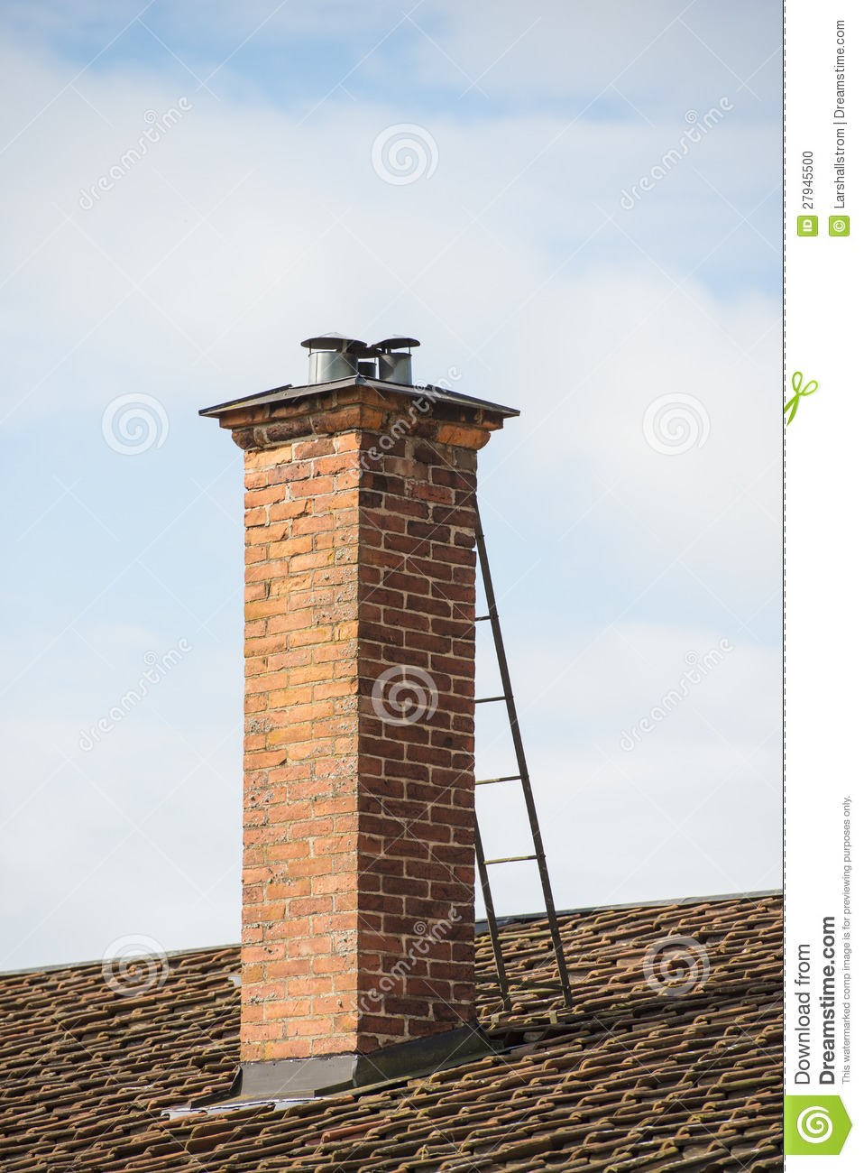 Red Brick Chimney On Roof Of Old House Stock Photo - Image ...
