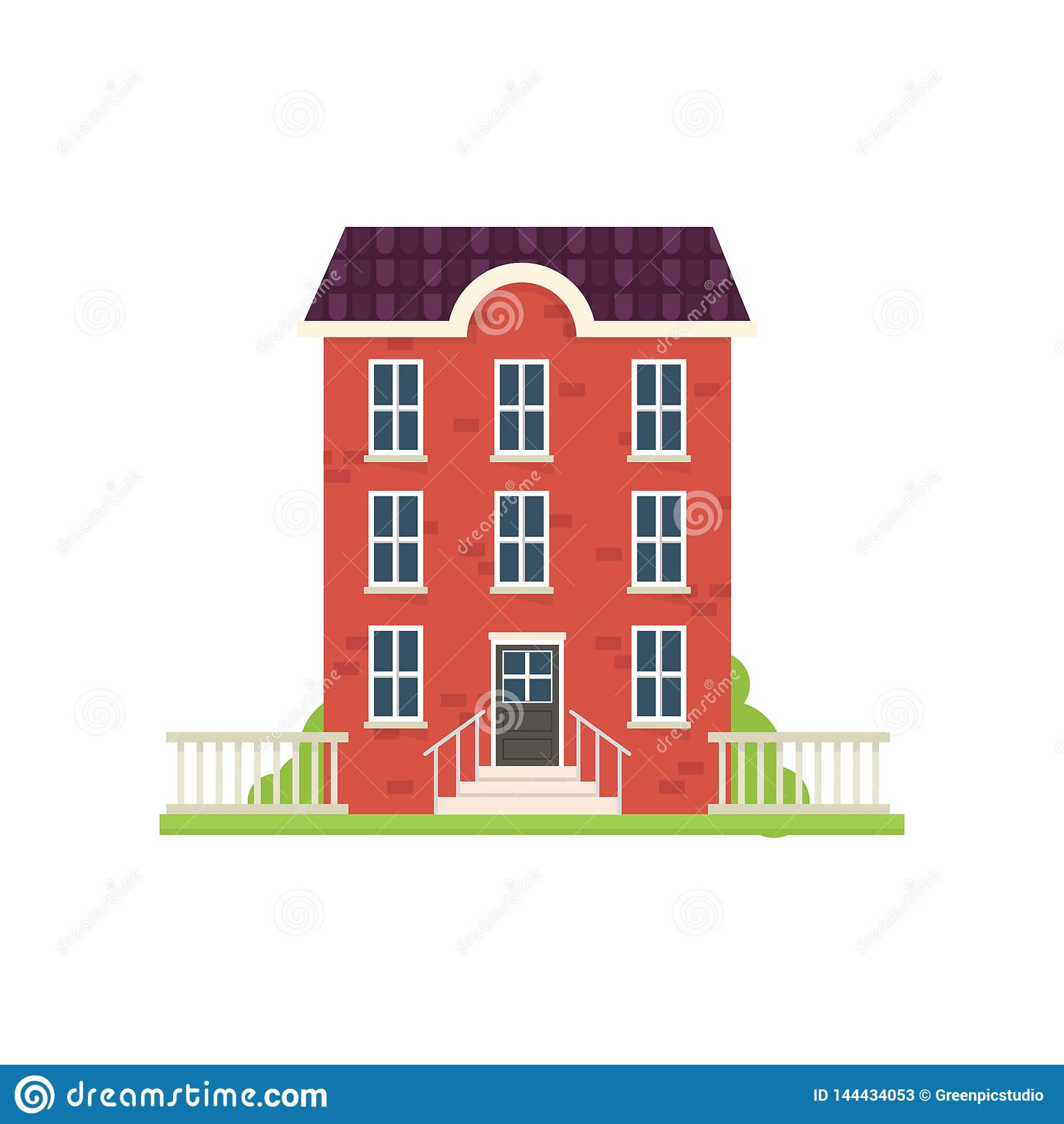 Red Brick City House With Green Grass Stairs Stock Vector