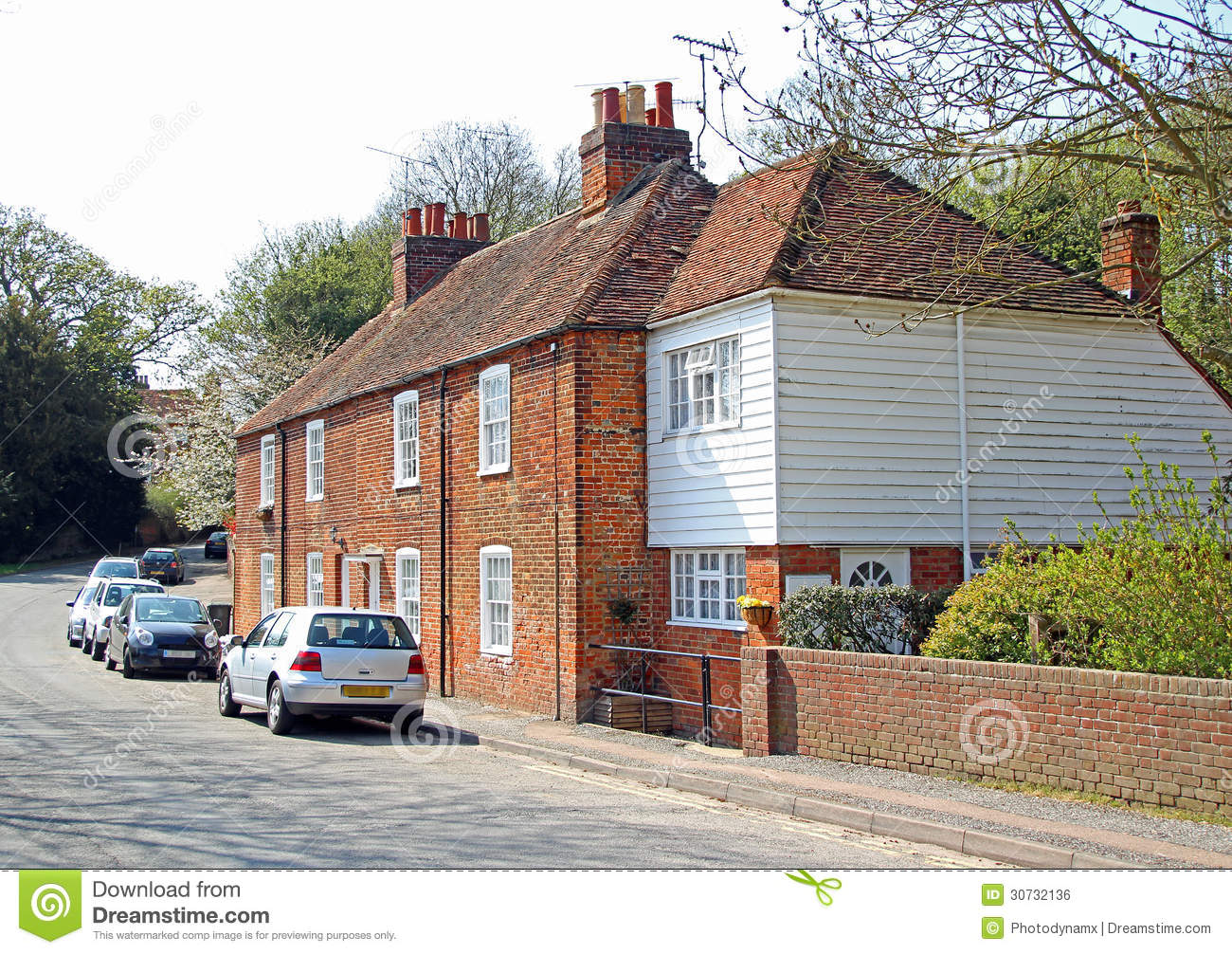 Red Brick Cottages In Rural Kent Stock Photo Image Of