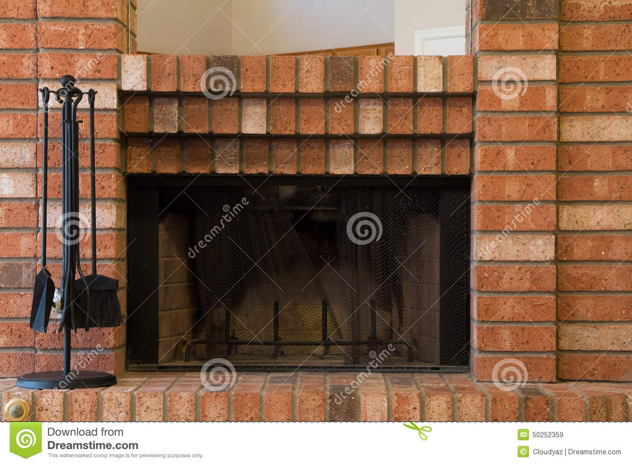 Red brick fireplace stock photo image 50252359 - Chimeneas de ladrillo ...