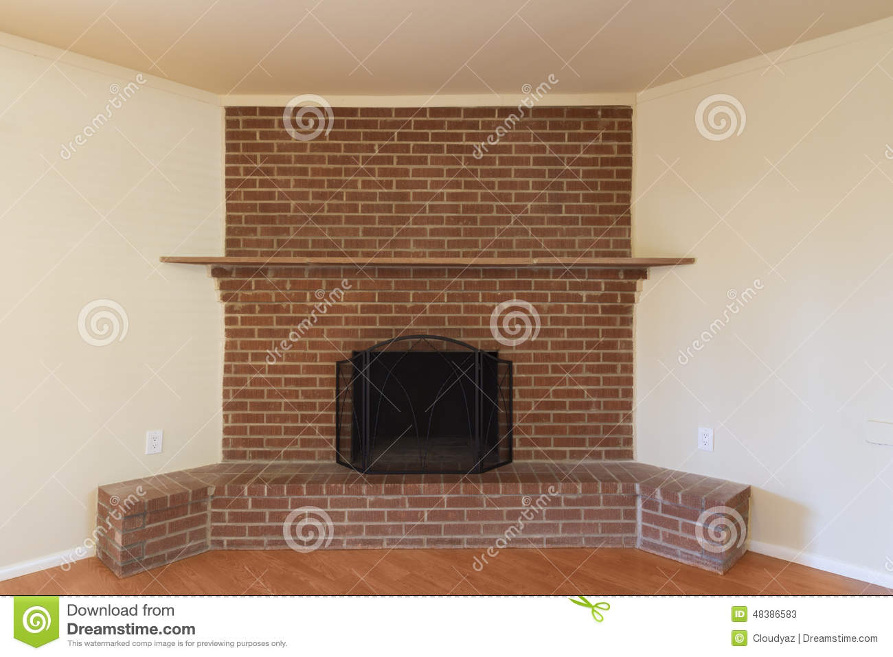 Red brick fireplace stock image image of interior real - Chimeneas de ladrillo ...