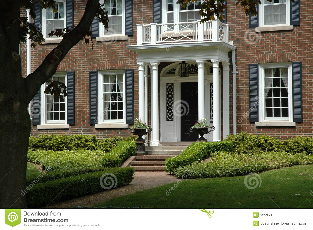 Red brick house stock photos image 925953 - Red brick house black shutters ...